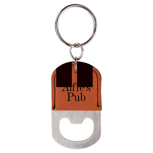 Rawhide Oval Bottle Opener Keychain with Custom Laser Engraving