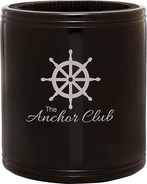 Black, stainless, engravable, drink holder, beverage holder, cooler
