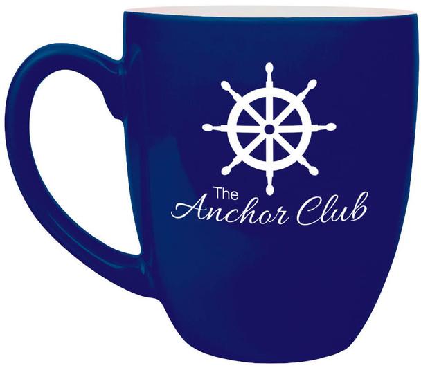 Blue Coffee Mug Engraves White