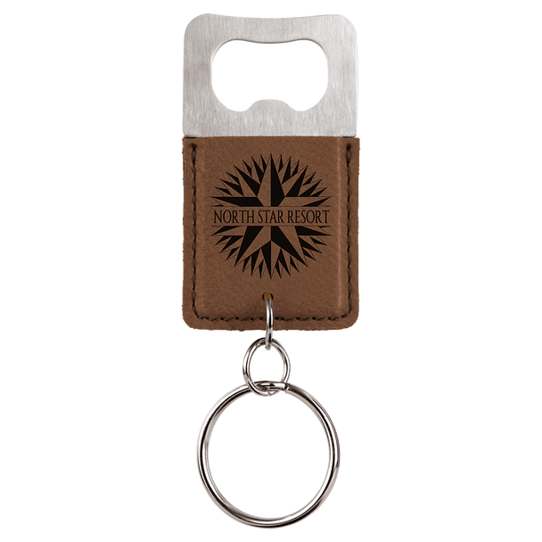 Dark Brown Bottle Opener Keychain with Custom Laser Engraving