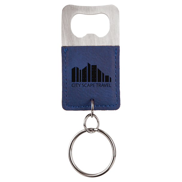 Blue Bottle Opener Keychain with Custom Laser Engraving