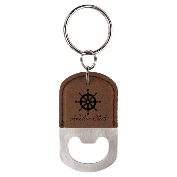 Dark Brown Oval Bottle Opener Keychain with Custom Laser Engraving