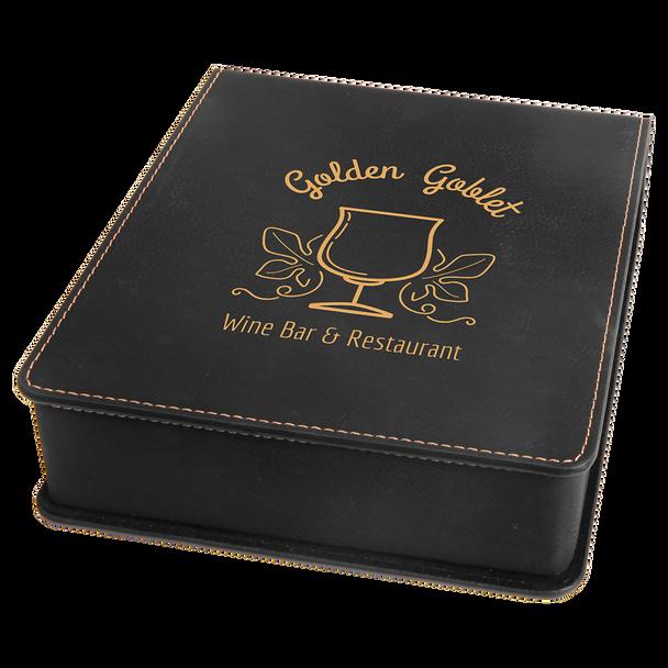Engraved Black/Gold Leatherette 3-Piece Wine Tool Set