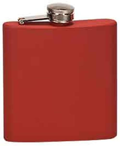 6 oz. Matte Red Stainless Steel Flask
