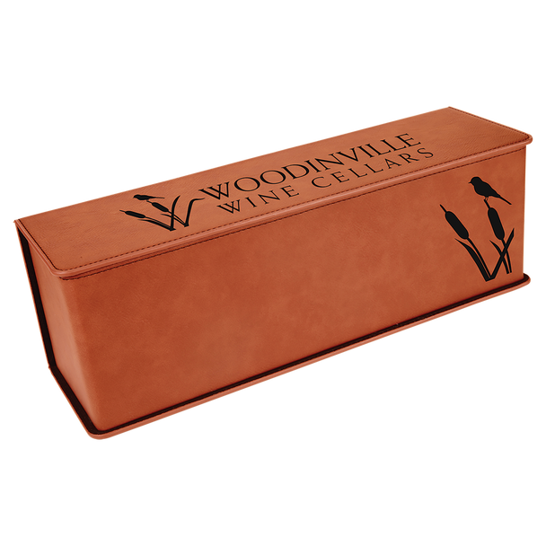 Engraved Rawhide Wine Box with Tools