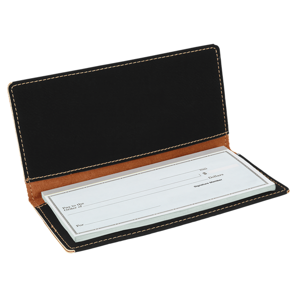 Black/Silver Leatherette Checkbook Cover with Custom Laser Engraving