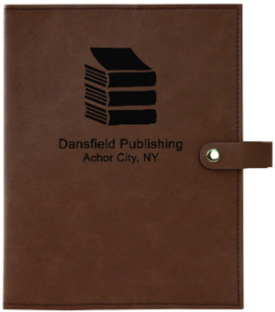 Dark Brown Leatherette Book Cover Snap Close with Custom Laser Engraving