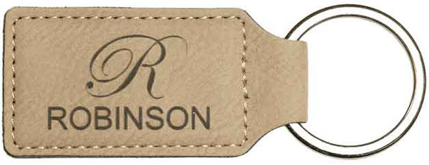 Tan Leatherette Rectangle Keychain with Custom Laser Engraving