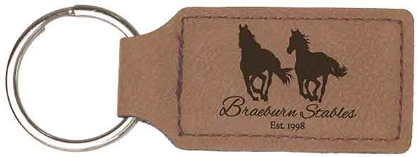 Brown Leatherette Rectangle Keychain with Custom Laser Engraving