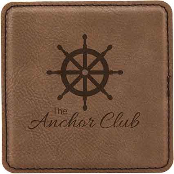 Brown Leatherette Coaster  with Custom Laser Engraving