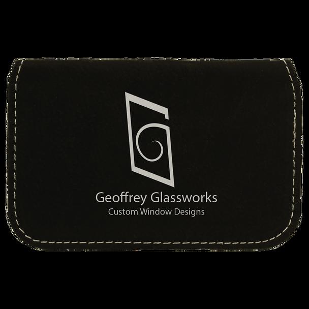 Black/Silver Leatherette Business Card Holder with Custom Laser Engraving