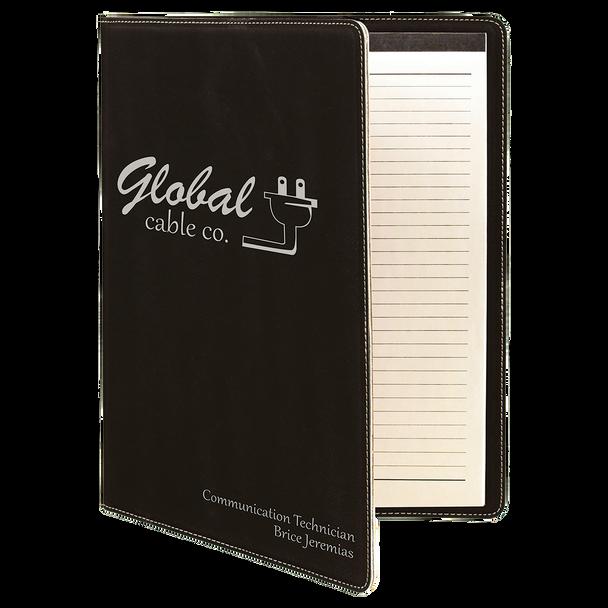 Black/Silver Leatherette Portfolio with Custom Laser Engraving