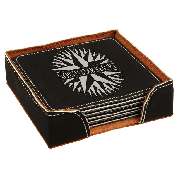 Black/Silver Square Leatherette Coaster Set with Custom Laser Engraving