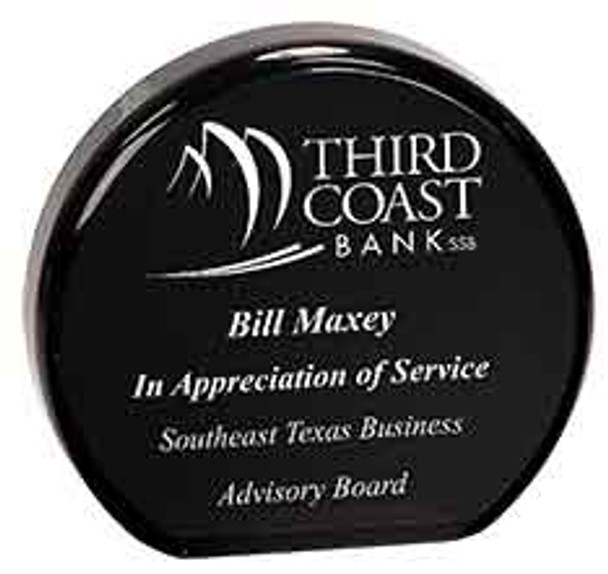 "Custom Engraved Black Acrylic Circle Award (4.5"")"