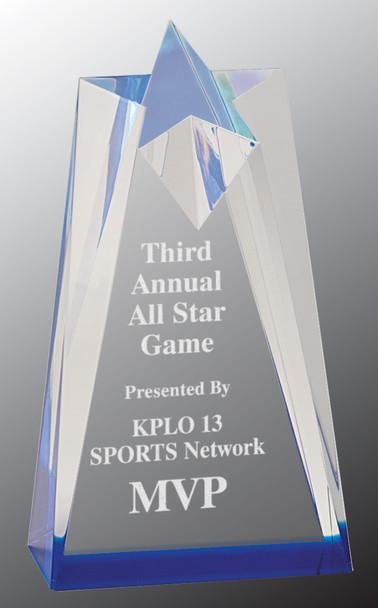 """Custom Engraved Blue Acrylic Sculpted Star Award (3.5"""" x 6"""")"""