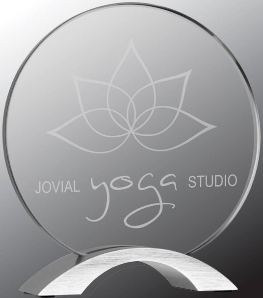 "Custom Engraved Clear Acrylic Round with Silver Base (7.25"")"