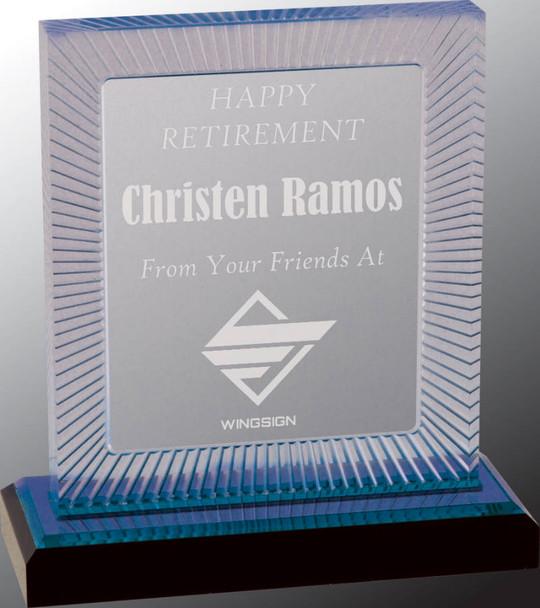 "Custom Engraved Blue Carved Rectangle Acrylic Award (6.75"")"