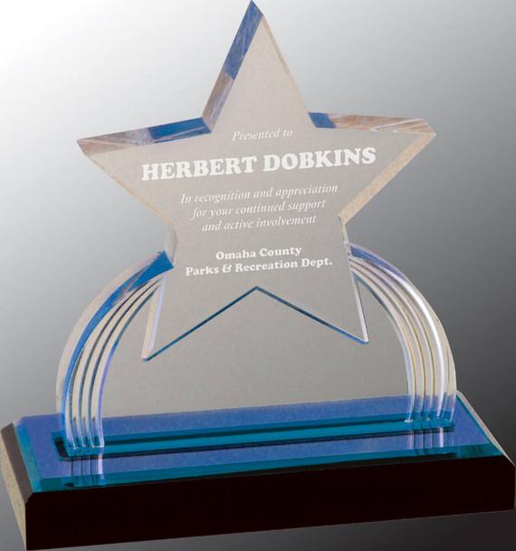 """Custom Engraved Blue Carved Star Acrylic Award (6.25"""")"""