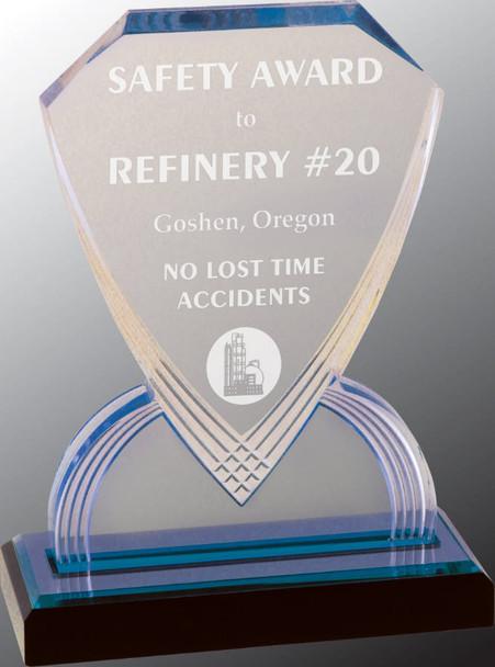 "Custom Engraved Blue Carved Shield Acrylic Award (8"")"