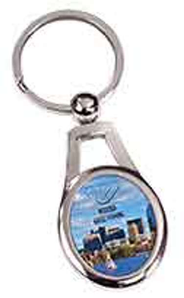"1 1/4"" x 1 3/8"" Silver Oval Sublimatable Keychain"