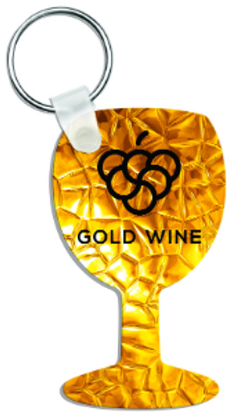 "1.6"" x 2.7"" Gloss White Aluminum Wine Glass Keychain"