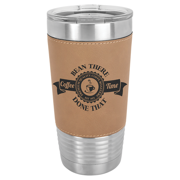 20oz Stainless Steel Tumbler with Light Brown Leatherette
