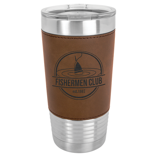 20oz Stainless Steel Tumbler with Dark Brown Leatherette