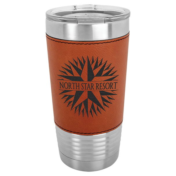 20oz Stainless Steel Tumbler with Rawhide Leatherette