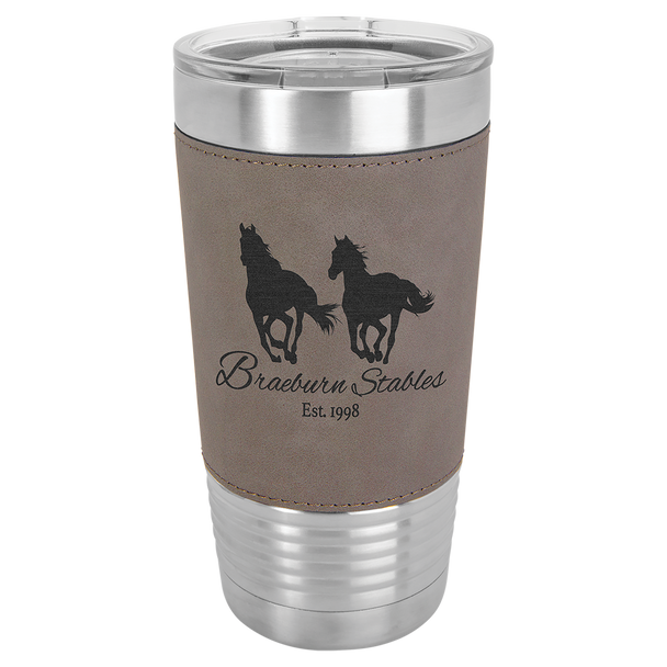 20oz Stainless Steel Tumbler with Gray Leatherette