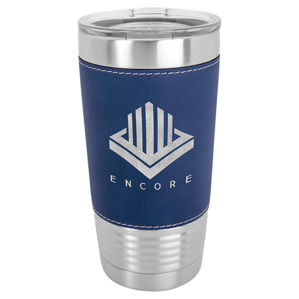 20oz Stainless Steel Tumbler with Blue Leatherette