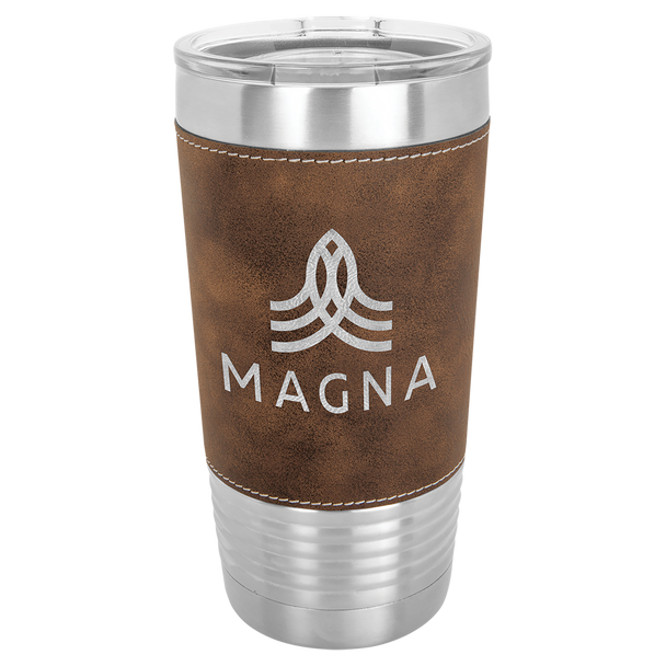 20oz Stainless Steel Tumbler with Brown Leatherette