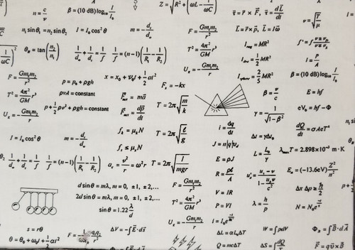 Math / Physics Equations on Black and White