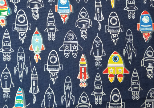 Rocket Ships on Navy - Glow in Dark