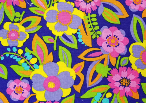 Bright Flowers on Royal Blue