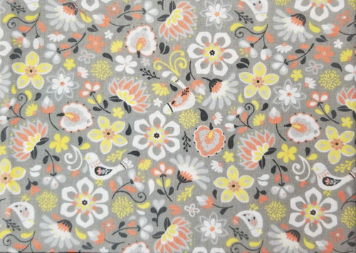 Yellow, Coral on Ligh Grey Floral with Birds