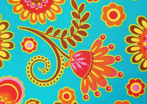 Retro Floral on Turquoise, Red, Orange, and Brown