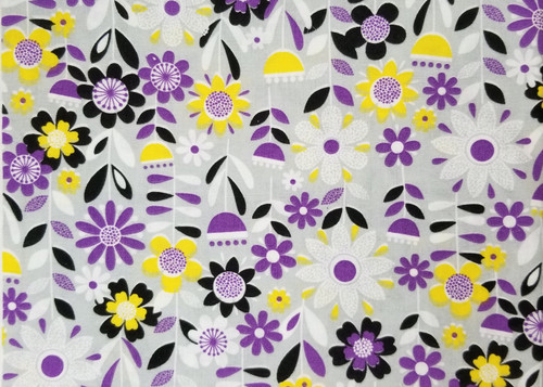 Purple Floral on Grey