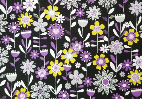 Grey and Purple Floral on Black