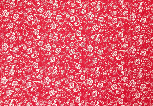 Small White Floral on Red