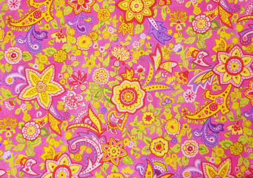 Bright Yellow, Pinks, Purple Floral on Hot Pink