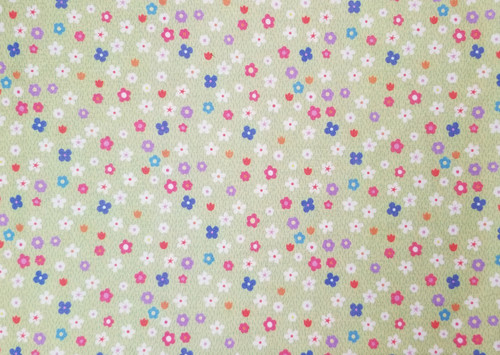 Small Florals of White, Pink, Purple, Blue on Pale Green