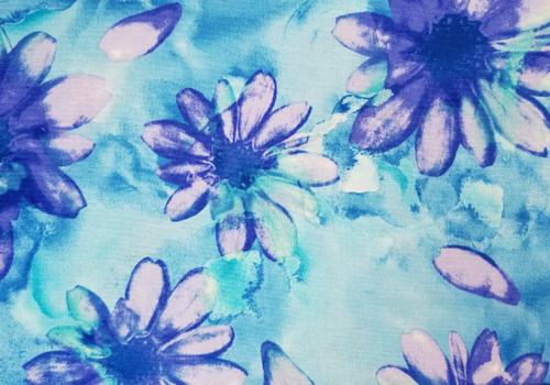Purple Daisy on Tye Dye Blue