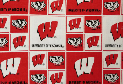 Wisconsin Badgers - W, Bucky on red and white box