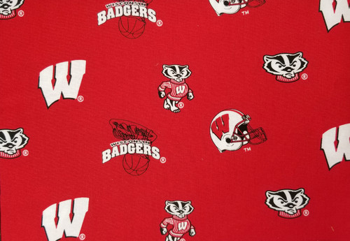 Wisconsin Badgers - red with football, baskteball, Bucky