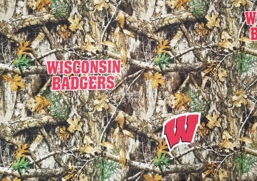 Wisconsin Badgers - camo leaves with Wisconsin Badgers