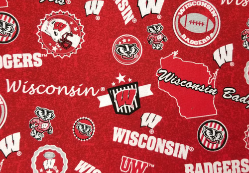 Wisconsin Badgers - dark red with footballs and Bucky