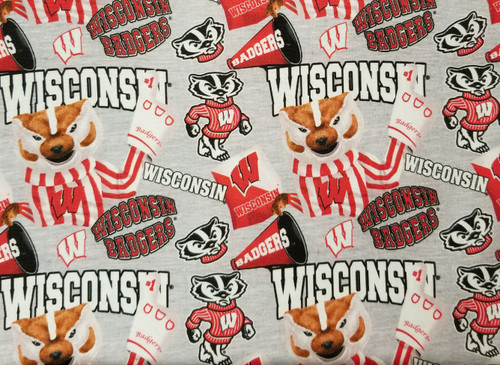 Wisconsin Badgers - grey Bucky with red and white