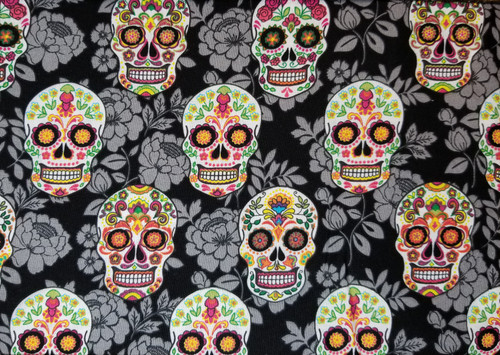 Halloween - Skulls on Black with Grey Floral Sugar Skulls