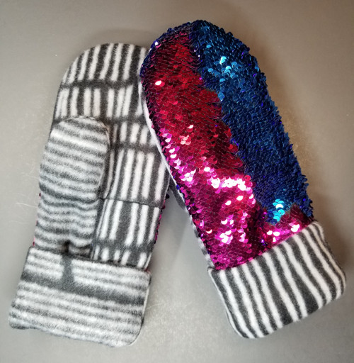 Adult Sequin Bling Champagne to Teal Blue - Black / Grey / White Vertical Stripes Palm and Cuff