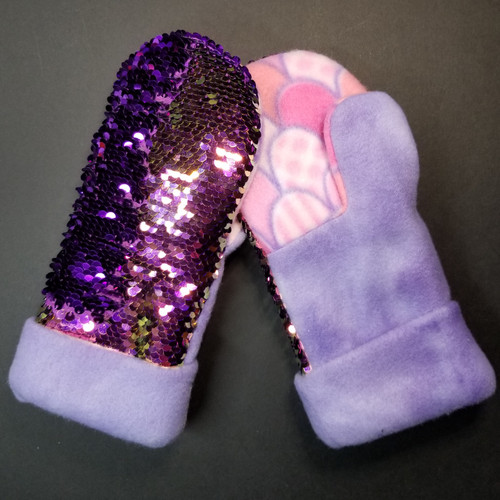 Child Medium Sequin Bling Pink to Purple - Purple and Pink / Purple Mermaid Scales Fleece